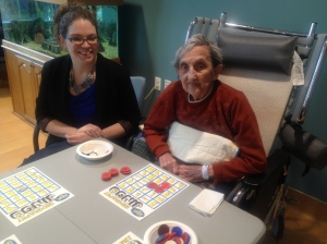 Friends of the Soldiers Home volunteer Patti DeBow joins Home resident Margaret Tuck for a game of Jingo at Scott Commons on the Home campus the evening of March 14. (Photo by Amy Bucci)