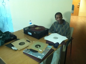 Tim Jones provided the entertainment at Saloon Night With Friends with his World War II-era jazz record collection.