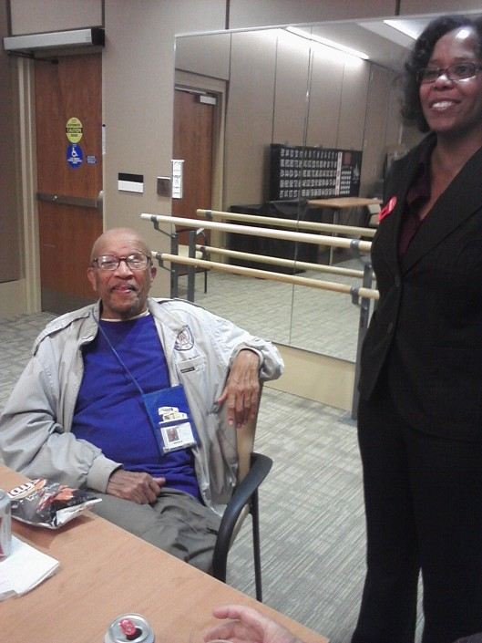 (Resident Philip Cardinalis and new FOSH Volunteer Rocelia Johnson. Photo)