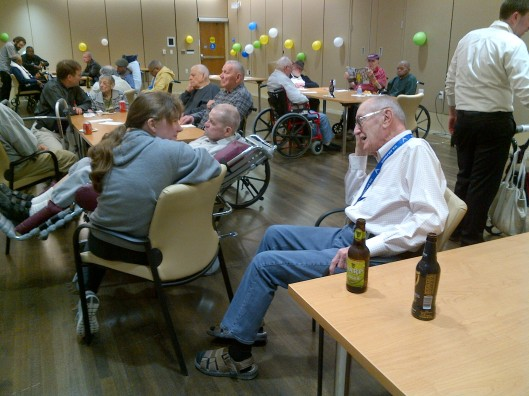 Residents of the Armed Forces Retirement Home had a good time making connections with volunteers in pleasant conversation at Happy Hour on April 29