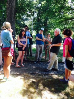 Phil Blair captures students' attention when he talks about how the geology of the campus developed.