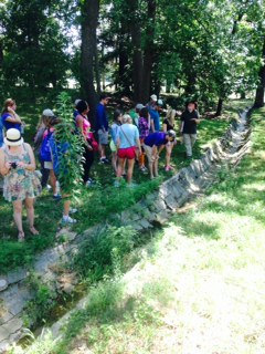 Students learned about the ancient, underground Tiber River on campus and previous efforts to channel waterflows.
